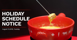 Read more about the article Restaurant Holiday Schedule Notice | August 21, 2018